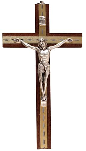 Beech Wood Hanging Crucifix 6″ Metal Inlaid