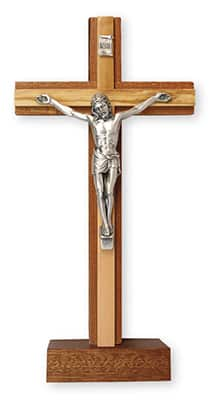 "Mahogany Wood Standing Crucifix 8 "" Metal Corpus"