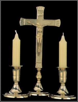 Sick Call Crucifix & Candle Set Brass