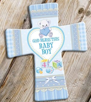 Porcelain Cross Baby Boy Blessing
