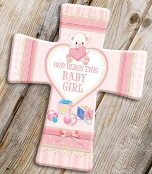 Porcelain Cross Baby Girl Blessing