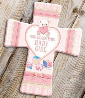 Porcelain Cross Baby Girl Blessing