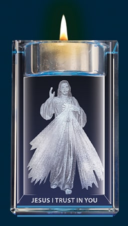 Divine Mercy Crystal Block With Votive Holder