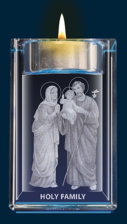 Holy Family Crystal Block With Votive Holder