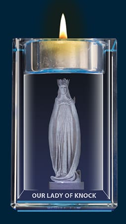 Our Lady Of Knock  Crystal Block With Votive Holder