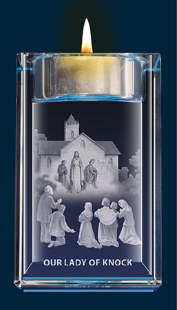 Apparition Of Knock Crystal Block With Votive Holder