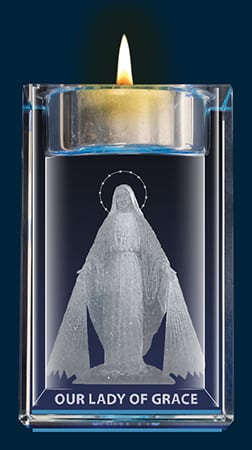 Our Lady Of Grace Crystal Block With Votive Holder