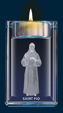 Padre Pio Crystal Block With Votive Holder