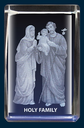 Holy Family Crystal Block Laser Engraved