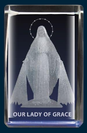 Our Lady Of Grace Crystal Block Laser Engraved