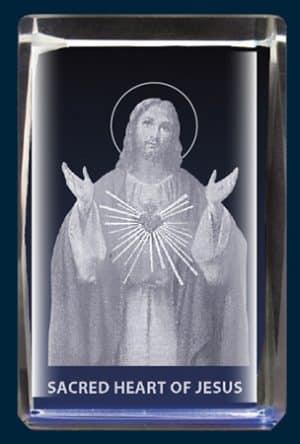 Sacred Heart Crystal Block Laser Engraved