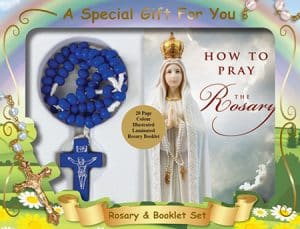 Wood Cord Rosary & Booklet Set Blue