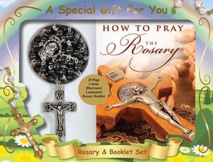 Imitation Hematite Rosary Bead & Booklet Set