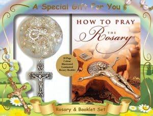 Acrylic Rosary Bead & Booklet Set Crystal