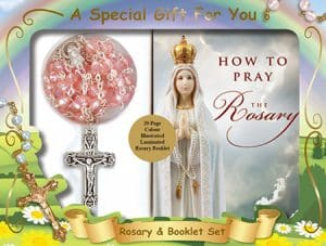 Acrylic Rosary Bead & Booklet Set Pink