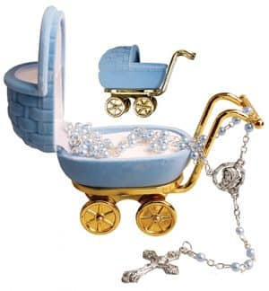 Imitation Pearl Rosary Beads Blue Pram Box