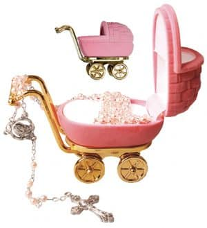 Imitation Pearl Rosary Beads Pink Pram Box