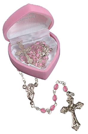 Glass Baby Rosary Bead Pink