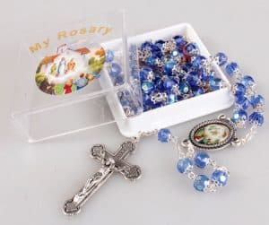 Knock Blue Glass Rosary Bead With Box
