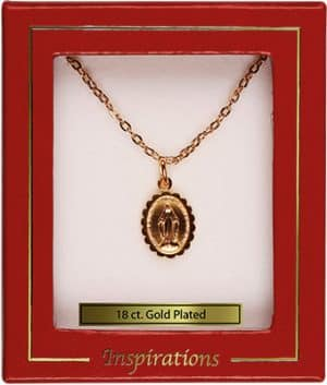 "18ct Gold Plated Necklet With ½"" Miraculous Medal"
