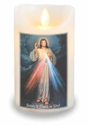 Divine Mercy LED Candle With Timer