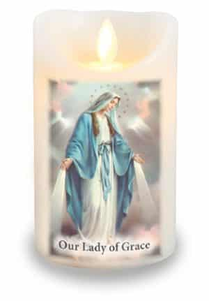 Our Lady Of Grace LED Candle With Timer