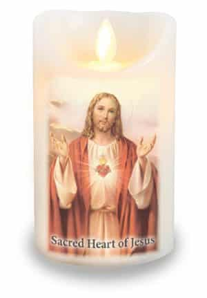 Sacred Heart LED Candle With Timer
