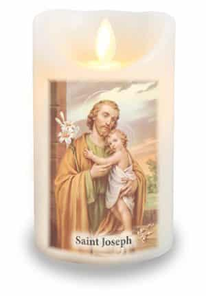 St. Joseph LED Candle With Timer