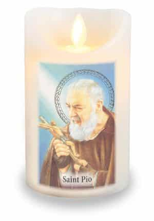 Padre Pio LED Candle With Timer