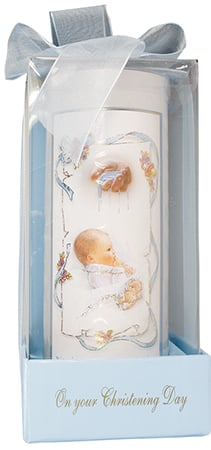 Christening Day Candle Boy Gift Box