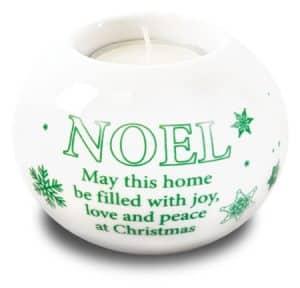 Porcelain Nativity Candle Holder Noel