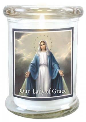 Our Lady Of Grace LED Glass Candle Holder