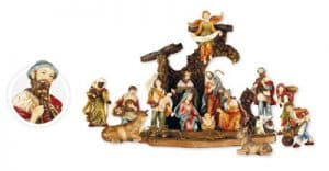 15 Piece Resin Nativity Set With Stable