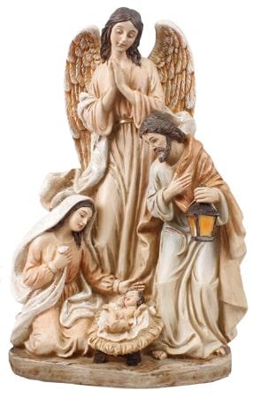 "8 "" Resin Holy Family Nativity Pearlised"
