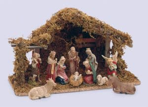 11 Piece Resin Nativity Set With Shed
