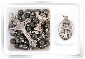 Boys Communion Imit. Hematite Rosary & Metal Medal