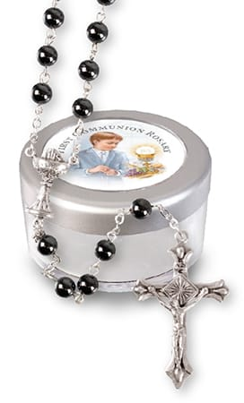 Boys Communion Glass Rosary Bead Init.Hematite