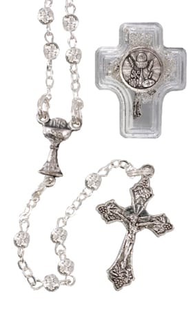 Girls Communion Metal Filigree Rosary Bead