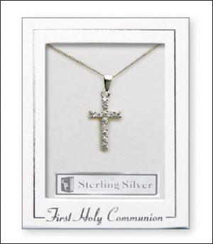 Communion Silver Necklet/Cross & Stones
