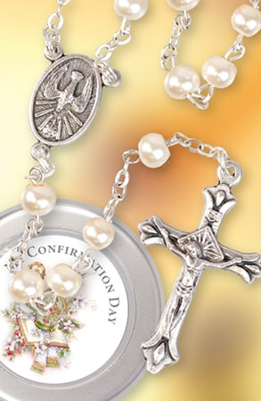 Confirmation Imitation Pearl Rosary Bead Girl