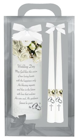 "Wedding Candle 8"" Gift Boxed/White"