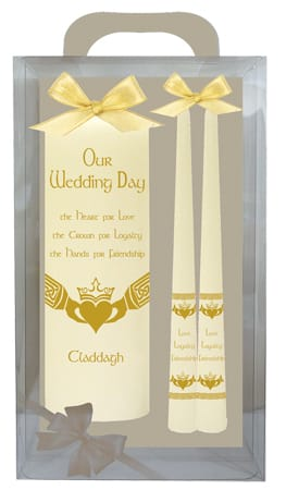 "Wedding Candle 8"" Gift Boxed/Ivory"