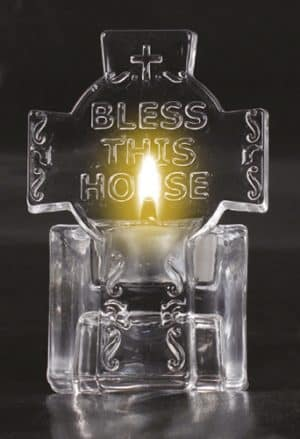 Glass Bless This House Tea Light Holder/Water Font