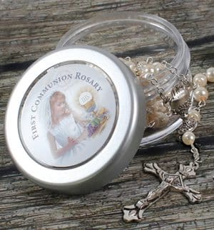 Communion Imitation Pearl Rosary Girl