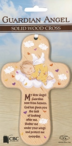 Guardian Angel Solid Wood Cross