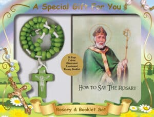 St. Patrick  Wood Cord Rosary & Booklet Set