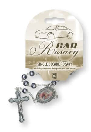 St Christopher Car Rosary – Single Decade (Imitation Hematite)