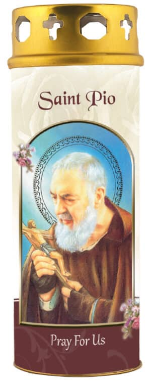 Saint Pio Candle with Windproof Cap