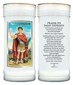 St. Expedite  – Plastic Pillar Candle