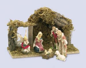 6 Piece Nativity Set With Wood Shed